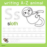 Illustrator of writing a-z animal s. Isolated for education Royalty Free Stock Photography