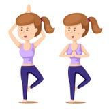 Illustrator of yoga set one with girl exercises Royalty Free Stock Photos