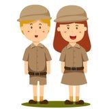Illustrator of zoo keeper boy and girl Stock Image