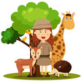 Illustrator of zoo keeper women Stock Photo