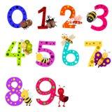 Illustratore dei numeri 0 - 9 con gli animali Illustrazione di Stock