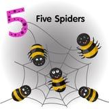 Illustratore dei ragni di numero cinque Illustrazione di Stock