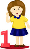 Illustratore del bambino e del numero uno Illustrazione Vettoriale