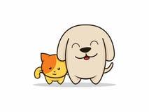 Illustratore del fumetto del gatto e del cane Fotografie Stock