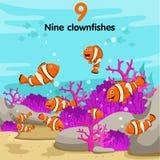 Illustratore del numero con un pesce di nove pagliacci Illustrazione Vettoriale