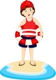 Illustratore del ragazzo con estate del mare Illustrazione di Stock