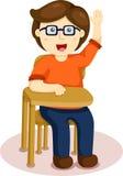 Illustratore del ragazzo di scuola che si siede sulla tavola Illustrazione di Stock
