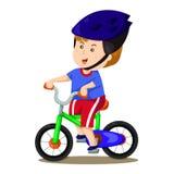 Illustratore del ragazzo e della bici due Immagini Stock Libere da Diritti