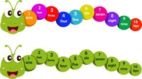 Illustratore del verme con i numeri uno - dieci Illustrazione di Stock