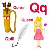 Illustratore dell'alfabeto di Q Illustrazione Vettoriale