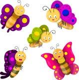 Illustratore dell'insieme del fumetto della farfalla Illustrazione di Stock