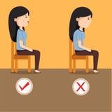 Illustratore della posizione seduta delle donne illustrazione di stock