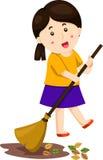 Illustratore della ragazza di spazzata delle foglie Illustrazione di Stock