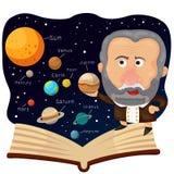 Illustratore di Galileo e del libro con l'universo Immagini Stock