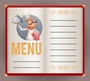 Illustratore di vettore di progettazione di carattere della mascotte del fumetto di Serving Food 3d del cuoco del cuoco unico del royalty illustrazione gratis