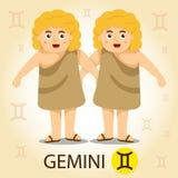 Illustratore di zodiaco con i gemini Illustrazione Vettoriale
