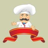 Illustratore isolato di vettore di progettazione di personaggio dei cartoni animati di Serving Food Realistic del cuoco del cuoco Immagine Stock Libera da Diritti