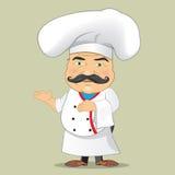 Illustratore isolato di vettore di progettazione di personaggio dei cartoni animati di Serving Food Realistic del cuoco del cuoco Fotografia Stock
