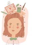 Illustrators portrait. Cute girl with illustrators tools on her head Royalty Free Stock Image
