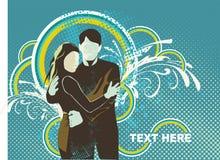 Illustratyion amoroso delle coppie sopra Immagine Stock