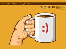Illustrazione #0011 - Tazza di caffè della holding della mano Fotografia Stock