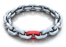 illustrazione 3d del cerchio della catena del metallo sopra la b bianca Fotografie Stock Libere da Diritti