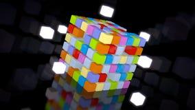 illustrazione 3d del cubo glowy sul floo nero Immagini Stock Libere da Diritti