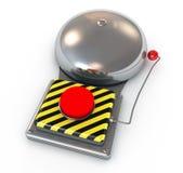 illustrazione 3d del segnalatore acustico sicuro metallico con un colore rosso Immagini Stock