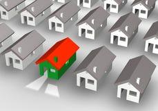 illustrazione 3D di un gruppo di case Fotografia Stock Libera da Diritti