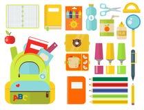 Illustrazione accessoria educativa stazionaria di vettore del taccuino dello studente dei bambini dei rifornimenti di scuola Fotografia Stock