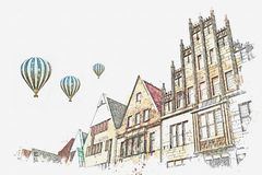 Illustrazione Achitecture a Muenster in Germania royalty illustrazione gratis