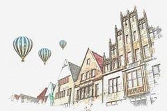 Illustrazione Achitecture a Muenster in Germania royalty illustrazione gratis