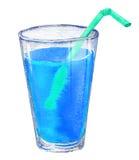 Illustrazione acquerella del vetro blu al neon del succo di frutta Immagini Stock Libere da Diritti