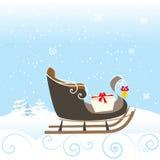 Illustrazione adorabile di vettore di Christimas dello speciale del bambino di Bell di inverno della neve della slitta Immagini Stock