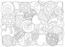 Illustrazione adulta della caramella della lecca-lecca della pagina di coloritura Immagini Stock