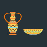 Illustrazione africana di vettore del vaso Fotografia Stock Libera da Diritti