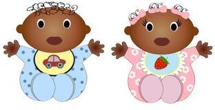 Illustrazione africana gemellata di Girl.Vector e del neonato Fotografia Stock Libera da Diritti