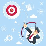 Illustrazione aimming di vettore di affari di concetto dell'obiettivo dell'uomo d'affari piano di vettore raggiungere il vostro s illustrazione di stock