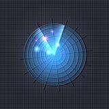 Illustrazione al neon blu luminosa al neon del radar di vettore, fondo scuro, icona royalty illustrazione gratis