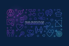 Illustrazione al tratto colorato di vettore di passione Insegna moderna di amore illustrazione vettoriale