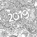 illustrazione al tratto disegnato a mano di contorno di 2019 scarabocchi Manifesto di nuovo anno immagine stock