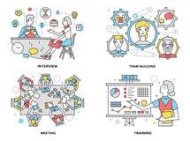 Illustrazione al tratto piano delle risorse umane Immagine Stock