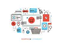 Illustrazione al tratto piano di commercio elettronico e di acquisto Fotografia Stock Libera da Diritti