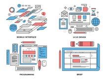 Illustrazione al tratto piano di sviluppo dell'interfaccia Immagini Stock