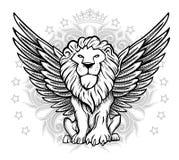 Illustrazione alata di vista frontale del leone Immagine Stock Libera da Diritti