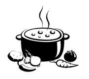Illustrazione, alimento e ingridients caldi della minestra illustrazione di stock