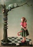 Illustrazione alla fiaba Alice nel paese delle meraviglie Immagini Stock