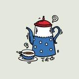 Illustrazione allegra di vettore della tazza e del bollitore Illustrazione di Stock