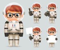 Illustrazione alta di vettore di progettazione di derisione del modello di Spaceman Icons Set dell'astronauta del fumetto di Real Fotografia Stock