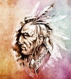 Illustrazione americana del capo indiano Immagini Stock Libere da Diritti